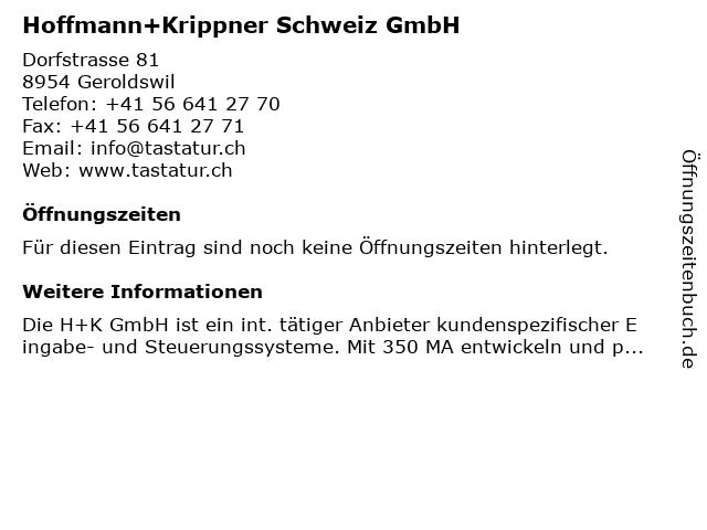 Hoffmann+Krippner Schweiz GmbH in Geroldswil: Adresse und Öffnungszeiten