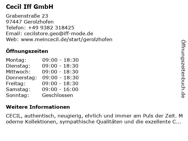 Cecil Iff GmbH in Gerolzhofen: Adresse und Öffnungszeiten