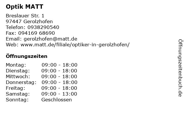 Optik MATT GmbH & Co. KG in Gerolzhofen: Adresse und Öffnungszeiten