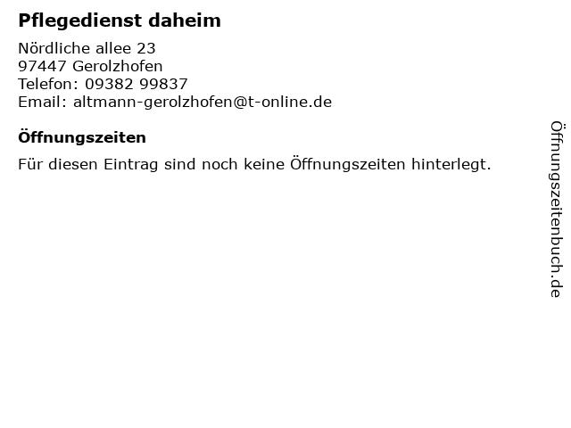 Pflegedienst daheim in Gerolzhofen: Adresse und Öffnungszeiten