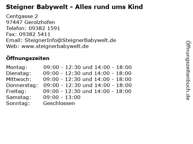 Steigner Babywelt - Alles rund ums Kind in Gerolzhofen: Adresse und Öffnungszeiten