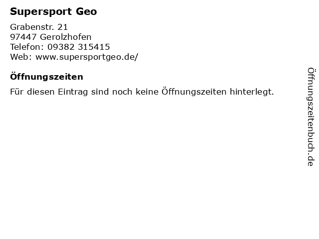 Supersport Geo in Gerolzhofen: Adresse und Öffnungszeiten