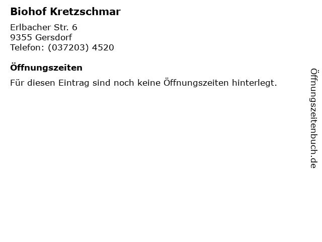 Biohof Kretzschmar in Gersdorf bei Hohenstein-Ernstthal: Adresse und Öffnungszeiten
