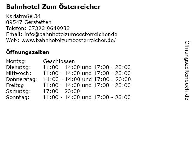 Bahnhotel Zum Österreicher in Gerstetten: Adresse und Öffnungszeiten