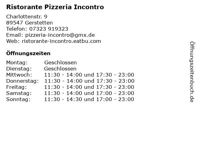 Ristorante Pizzeria Incontro in Gerstetten: Adresse und Öffnungszeiten
