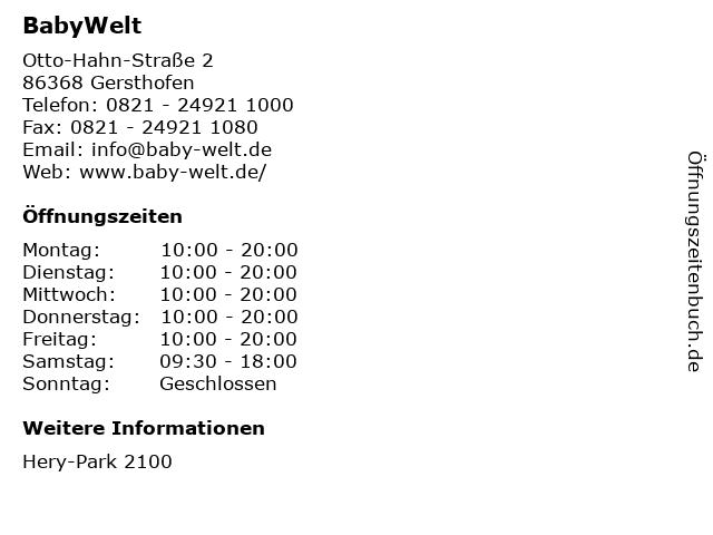 BabyWelt in Gersthofen: Adresse und Öffnungszeiten