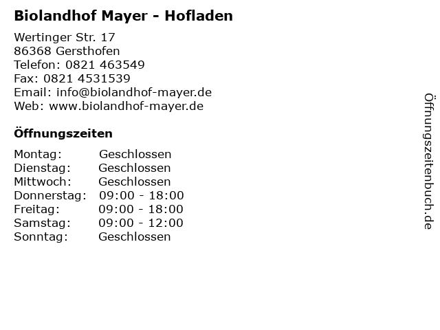 Biolandhof Mayer in Gersthofen: Adresse und Öffnungszeiten