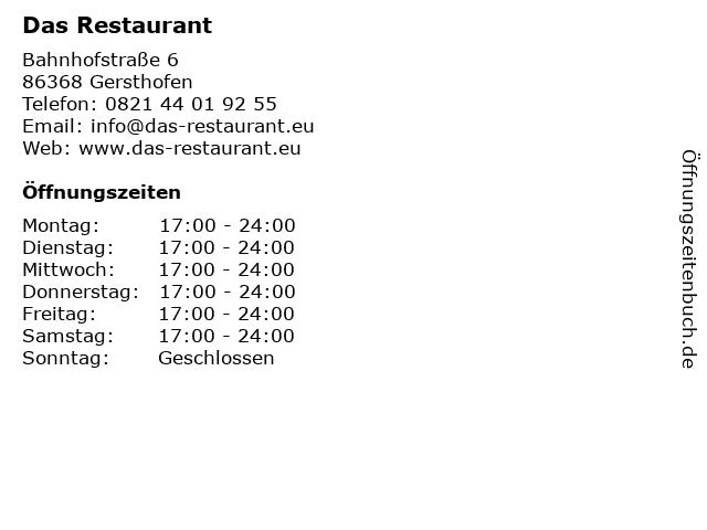 Das Restaurant in Gersthofen: Adresse und Öffnungszeiten
