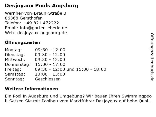 Desjoyaux Pools Augsburg in Gersthofen: Adresse und Öffnungszeiten