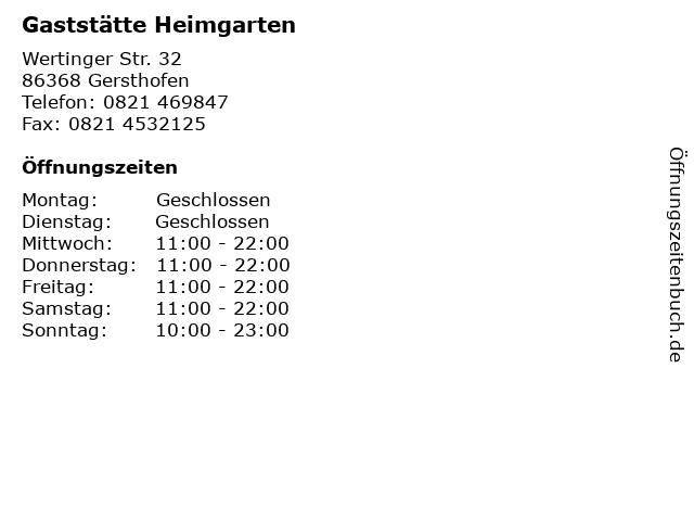 Gaststätte Heimgarten in Gersthofen: Adresse und Öffnungszeiten