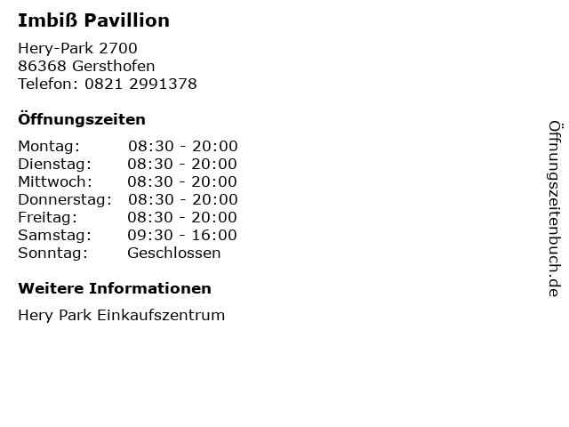 Imbiß Pavillion in Gersthofen: Adresse und Öffnungszeiten