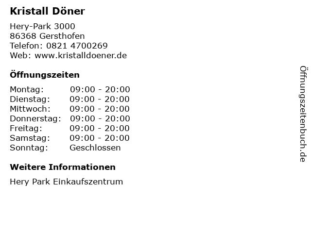 Kristall Döner in Gersthofen: Adresse und Öffnungszeiten