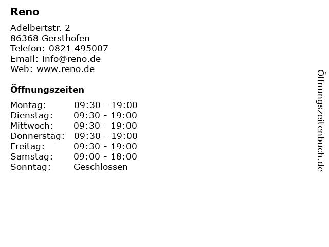 Reno in Gersthofen: Adresse und Öffnungszeiten