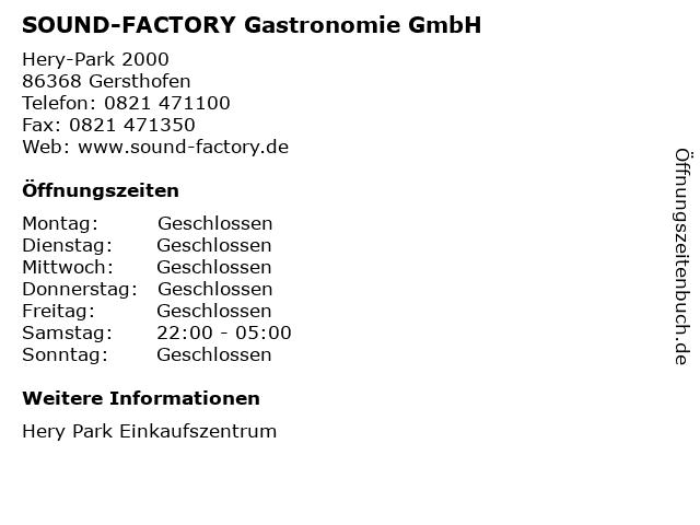 SOUND-FACTORY Gastronomie GmbH in Gersthofen: Adresse und Öffnungszeiten