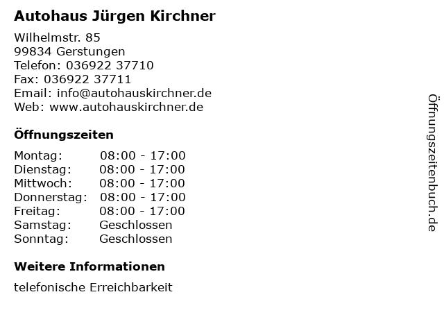 Autohaus Jürgen Kirchner in Gerstungen: Adresse und Öffnungszeiten