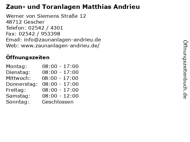 Zaun- und Toranlagen Matthias Andrieu in Gescher: Adresse und Öffnungszeiten