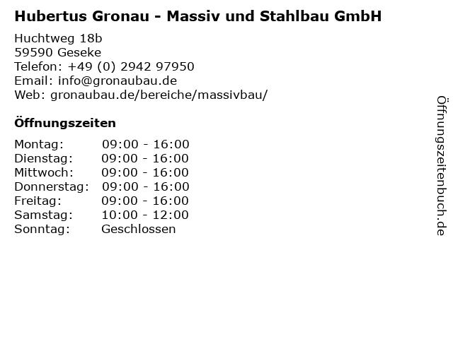 Hubertus Gronau - Massiv und Stahlbau GmbH in Geseke: Adresse und Öffnungszeiten