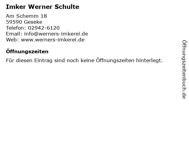 Imker Werner Schulte in Geseke: Adresse und Öffnungszeiten