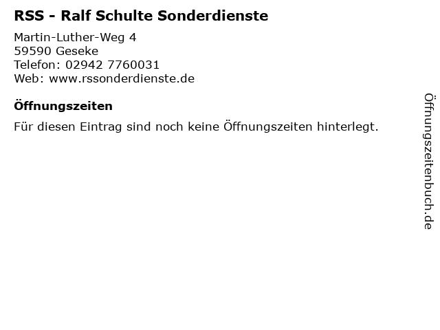 RSS - Ralf Schulte Sonderdienste in Geseke: Adresse und Öffnungszeiten