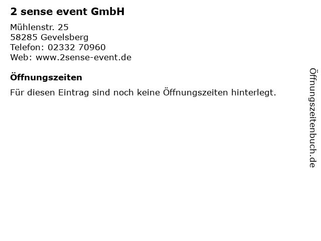 2 sense event GmbH in Gevelsberg: Adresse und Öffnungszeiten
