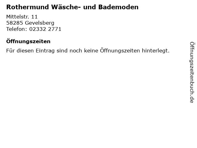 Rothermund Wäsche- und Bademoden in Gevelsberg: Adresse und Öffnungszeiten