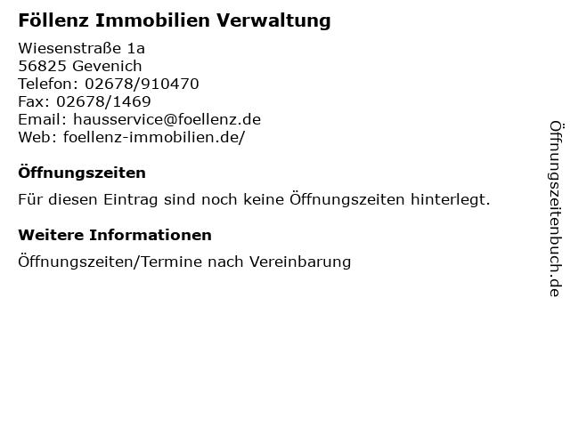 Föllenz Immobilien Verwaltung in Gevenich: Adresse und Öffnungszeiten