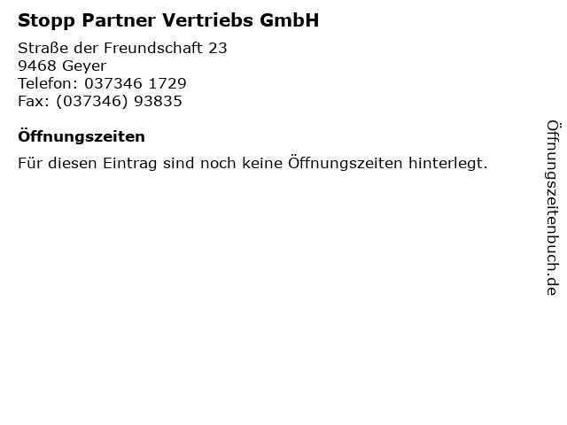 Stopp Partner Vertriebs GmbH in Geyer: Adresse und Öffnungszeiten
