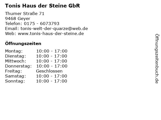 Tonis Haus der Steine GbR in Geyer: Adresse und Öffnungszeiten