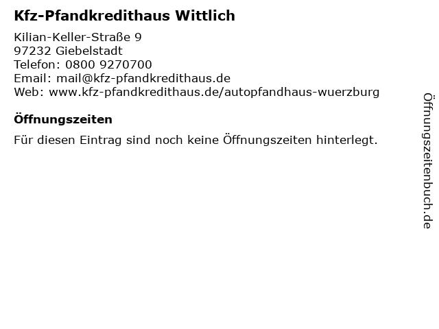 Kfz-Pfandkredithaus Wittlich in Giebelstadt: Adresse und Öffnungszeiten
