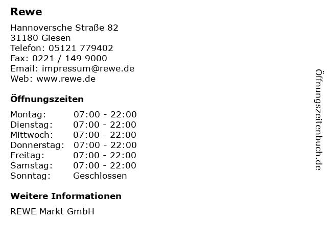 REWE Markt GmbH in Giesen: Adresse und Öffnungszeiten