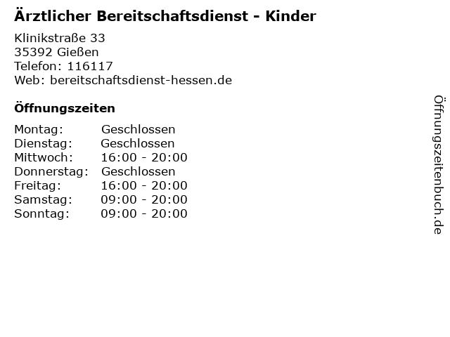 Ärztlicher Bereitschaftsdienst - Kinder in Gießen: Adresse und Öffnungszeiten