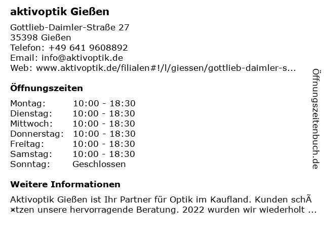 Aktiv Optik Rolf Schneider GmbH in Gießen: Adresse und Öffnungszeiten