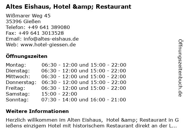 Altes Eishaus, Hotel & Restaurant in Gießen: Adresse und Öffnungszeiten