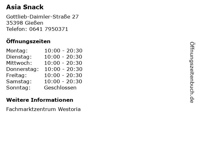 Asia Snack in Gießen: Adresse und Öffnungszeiten