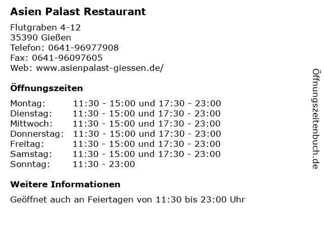 Asien Palast Restaurant in Gießen: Adresse und Öffnungszeiten