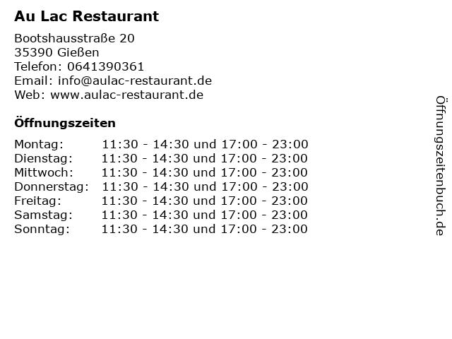 Au Lac Restaurant in Gießen: Adresse und Öffnungszeiten