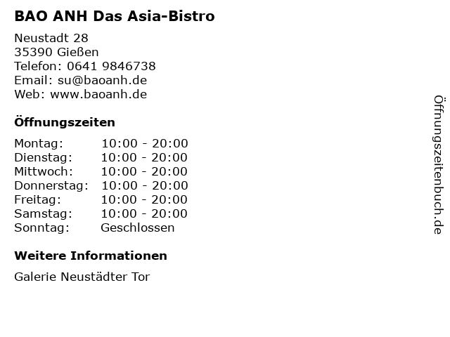 BAO ANH Das Asia-Bistro in Gießen: Adresse und Öffnungszeiten