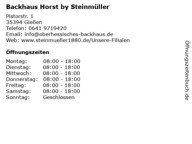 Bäckerei Backhaus Horst in Gießen: Adresse und Öffnungszeiten