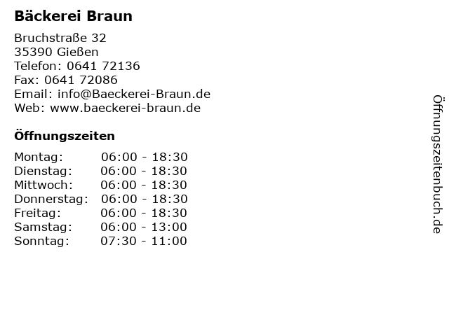 Bäckerei Braun in Gießen: Adresse und Öffnungszeiten