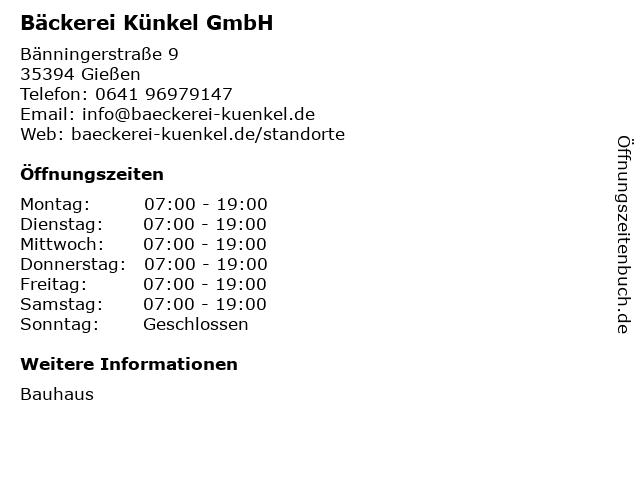 ᐅ Offnungszeiten Backerei Kunkel Gmbh Banningerstrasse 9 In Giessen