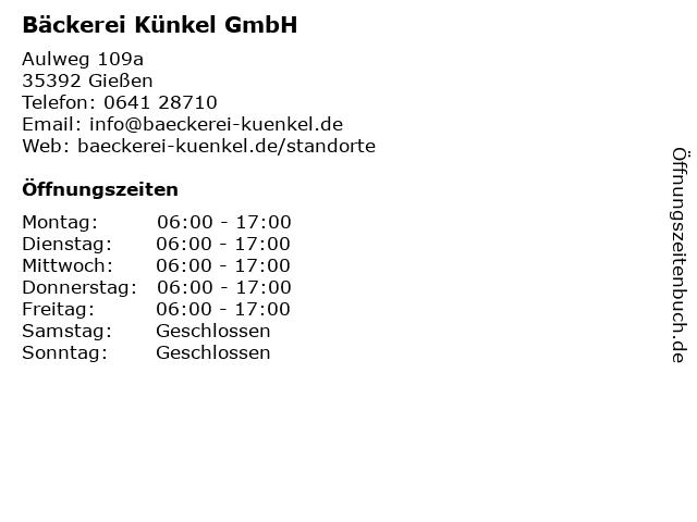 Bäckerei Künkel GmbH in Gießen: Adresse und Öffnungszeiten