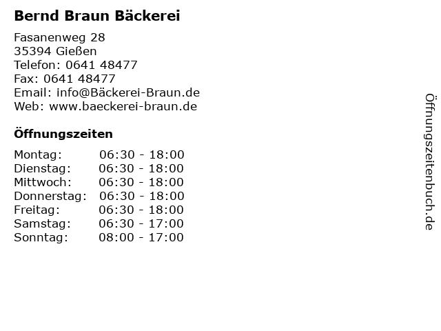 Bernd Braun Bäckerei in Gießen: Adresse und Öffnungszeiten
