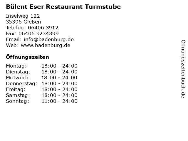 Bülent Eser Restaurant Turmstube in Gießen: Adresse und Öffnungszeiten