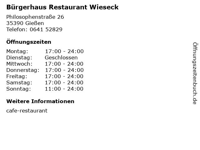 Bürgerhaus Restaurant Wieseck in Gießen: Adresse und Öffnungszeiten
