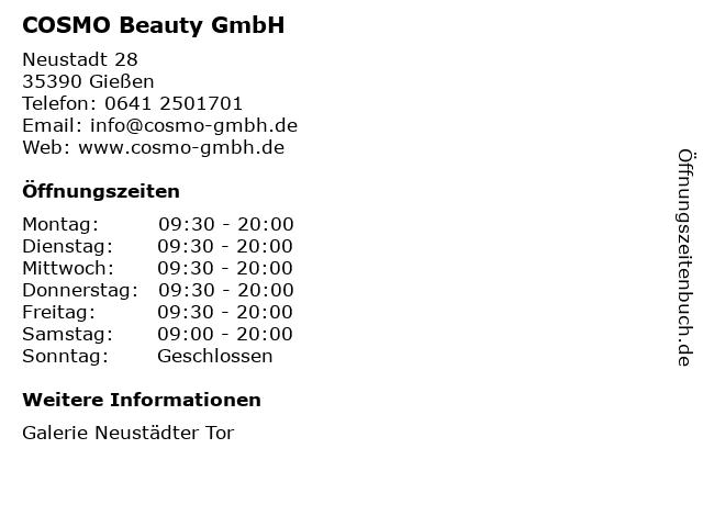 COSMO Beauty GmbH in Gießen: Adresse und Öffnungszeiten
