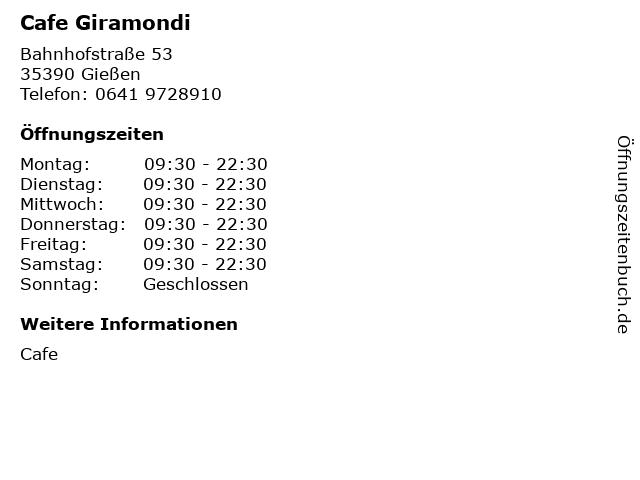 Cafe Giramondi in Gießen: Adresse und Öffnungszeiten
