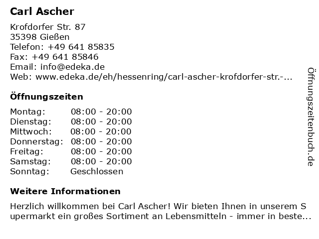 Carl Ascher in Gießen: Adresse und Öffnungszeiten