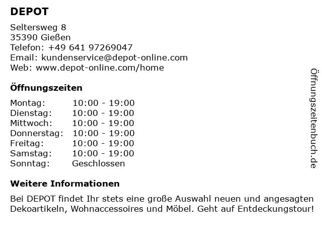 ᐅ Offnungszeiten Depot Gries Deco Company Seltersweg 8 In Giessen