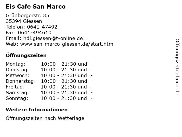 Eis Cafe San Marco in Giessen: Adresse und Öffnungszeiten