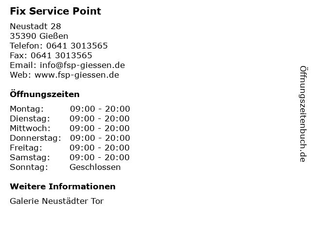 Fix Service Point in Gießen: Adresse und Öffnungszeiten